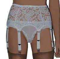 All Lace White 8 Strap Suspender Belt